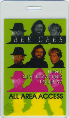 BEE GEES 1991 LAMINATED BACKSTAGE PASS All Access green
