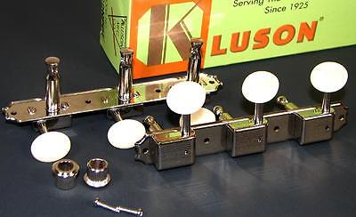 Kluson 3x3 on a plate Nickel Tuners w/Cream Buttons fit Gibson, Epi, WD90NPP