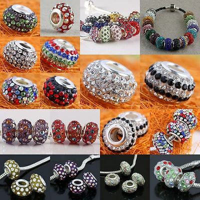 Crystal Rhinestone Resin Rondelle Loose Charms European Bracelet Bead Jewellery