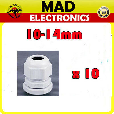 10 x Cable Glands IP68 PG16 10mm -14mm White/Grey Cable Gland