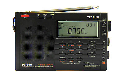 TECSUN PL660 PLL FM/Stereo MW LW SW SSB AIR Band    BLACK COLOR    PL-660 radio