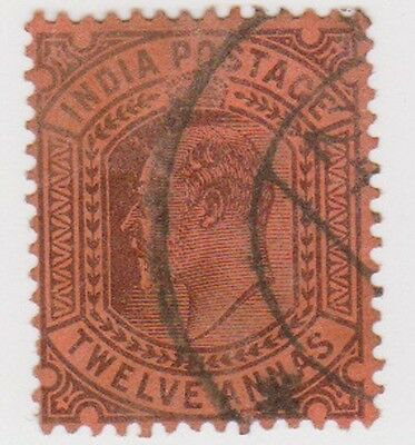 Stamp (I39) 1902 INDIA 12a purple red Edward ow135