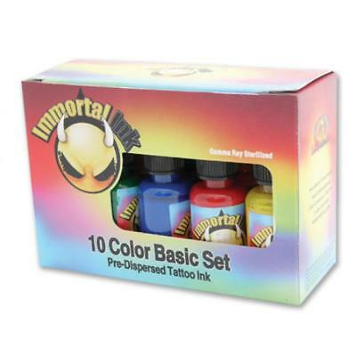 PROFESSIONAL IMMORTAL Tattoo Ink Kit - 10 x 1oz Bottle Set