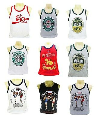 Men's Sport Running Boxing Singlets Tank Top T-Shirt Muay Thai Size  , M, L, XL