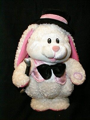 """DAN DEE ANIMATED PLUSH White Bunny Rabbit Sings Dances to """"The Hop"""" WORKS GREAT!"""