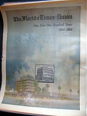 Florida Times Union Newspaper Vintage 1864-1964 Special Edition  Jacksonville Fl