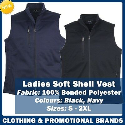 Ladies Soft Shell Vest Casual Work Office Corporate Navy Black Size S-2XL J29123