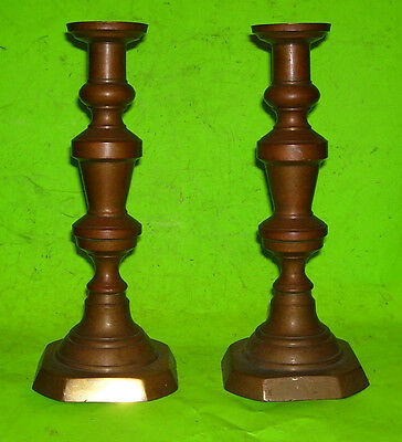 Antique BRASS or BRONZE CANDLESTICKS - Heavy Clyde Springer Candle Holders  L378