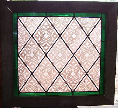 Antique TRANSLUCENT STAINED GLASS Window_Pink/Red PATTERN - Green border (SG822)