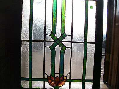 Leaded STAINED GLASS window  - Red FLOWERS Green LEAVES (SG803)