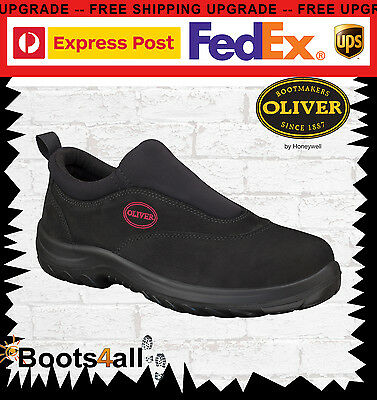 New Oliver Men's Work Safety Boots Shoes Steel Toe Slip On Black AU Size 34610