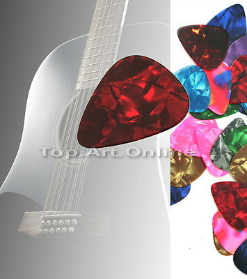 Lots of 144 pcs Mix Size Assorted Colourful Thin Medium Guitar Picks Celluloid