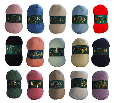 Aran Wool Woolcraft Aran 400g Knitting Yarn, Acrylic Or Wool Mix 40+ Colours