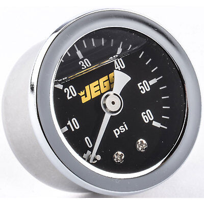 JEGS Performance Products 41012 Fuel Pressure Gauge 0-60 psi Black Dial