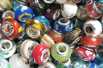 NEW 925 Sterling Silver Murano Glass Lampwork Beads Fits European Charm Bracelet