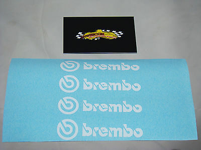 4x 75mm BREMBO WHITE BRAKE CALIPER DECALS FOR REAR CALIPERS, STICKERS