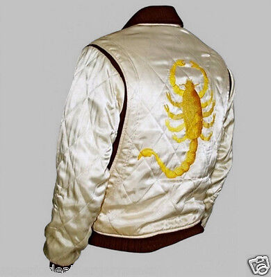 Drive Scorpion Ivory Satin Slim Fit Ryan Gosling Movie Jacket