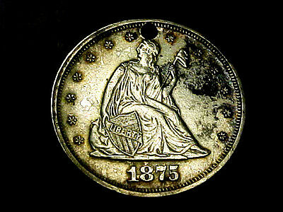 Free Shipping Rare 1875 P Silver Twenty 20 Cent Au-Unc Hole  Buy It Now Or Offer