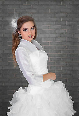 Wedding Bridal Ivory White Organza Bolero/Shrug/Jacket  S M L XL XXL XXXL