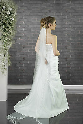 """NEW 1 T White / Ivory Wedding Bridal Cathedral Veil Length 28""""-Cut Edge & Comb"""