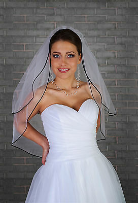 Women 2 Tier Wedding Elbow Length Veil on Comb with Satin Black Edge VL-45