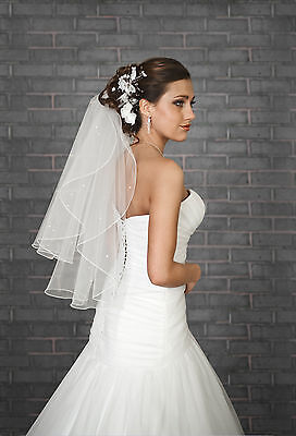 "NEW Women 2T White / Ivory Wedding BEADED Bridal Veil Waist Length 28""-PEARLS"