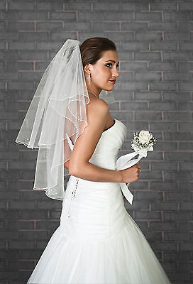Wedding Fingertip Length Bridal Veil on Comb Beads and Crystals VZ-85