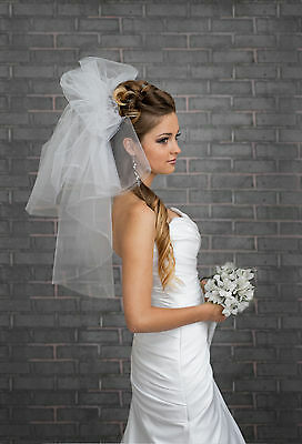 """NEW Women 2 Tier White / Ivory Wedding Elbow Bridal Veil Length 24"""" with Comb"""