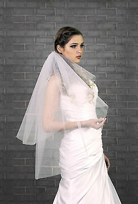 "New 2 Tier White Ivory Wedding Bridal Veil Waist Length 32""-Glittering Tulle"