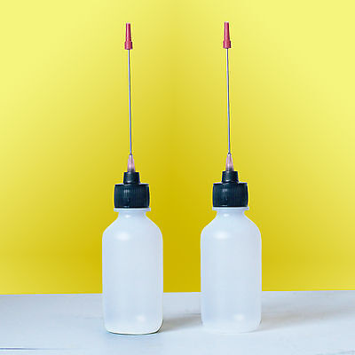 Two 2 OZ bottles with stainless steel needle tip dispenser. High Quality