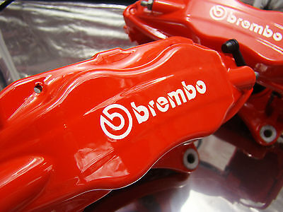 SET OF 2x 90MM and 2X 75MM BREMBO WHITE BRAKE CALIPER DECALS STICKERS HIGH TEMP