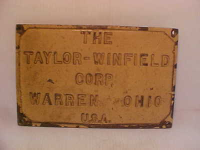 Vintage Taylor-Winfield Corp Copper Name plate Warren , Ohio