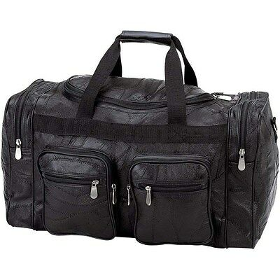 """Black 21"""" Genuine Leather Duffle Bag, Mens Overnight Carry-On Travel Luggage Gym"""