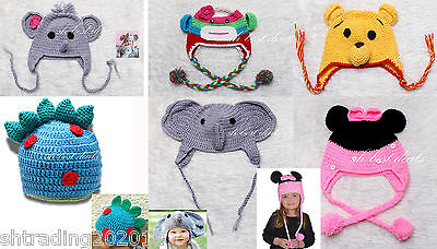 Kids Cartoon Animal Face Knitted Beanie Hat Cap Elephant Monkey Dianosaur Cute