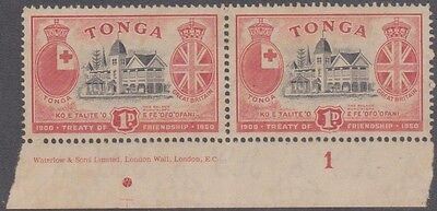 (R3-36)1951 Tonga 1d 50th anni pair with number Pos dot