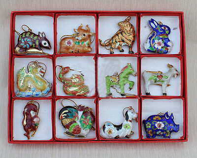 Collectibles12pcs Chinese Handmade Vintage Cloisonne12 Zodiac Animals Ornaments