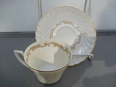 SYRACUSE CHINA - BAROQUE GRAY -MADE IN U.S.A.--  CUP & SAUCER - XLNT COND