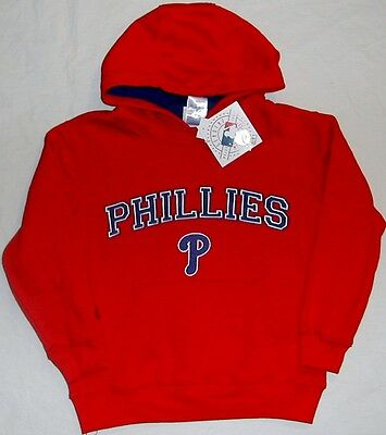 Philadelphia Phillies Majestic Hooded Sweatshirt Hoodie Red Youth S M L Xl Nwt