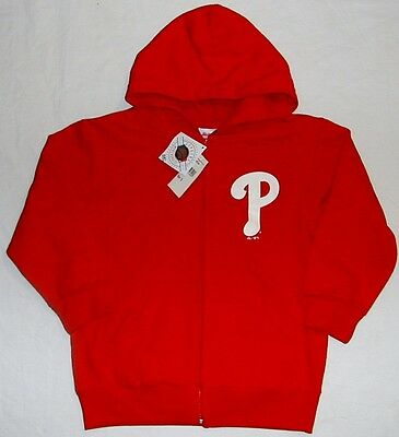 Philadelphia Phillies Zippered Hooded Sweatshirt Hoodie Youth S M L Xl Red Nwt