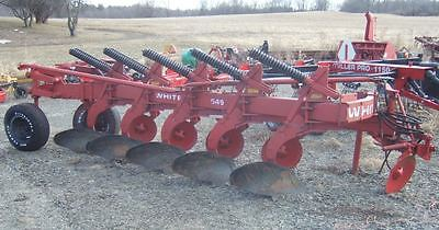 "Oliver White 549 Moldboard Plows 5 Bottom 16"" Spring Reset Side Hill Hitch"