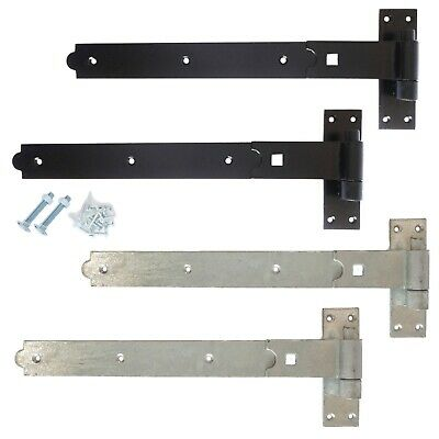 Gate Hinges Hook and Band Heavy Duty Garden Shed Door in Galvanised or Black