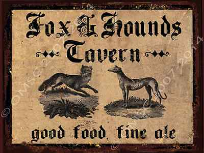Fox and Hounds Tavern Metal Sign, Fine Ale, Good Food, Vintage Hunting Scene