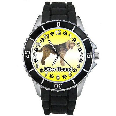 Otter Hound Dog Black Rubber Silicone Band Mens Ladies Quartz Wrist Watch S746E