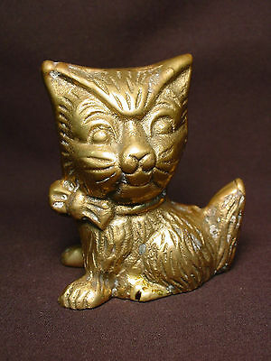 Old Brass Kitten Cat Statue Vtg Metal Doll Mini Folk Art Kitty Neck Bow Tie