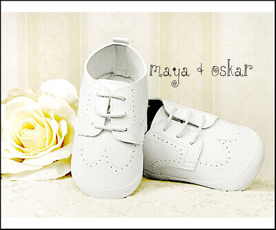 BABY BOYS PRAM SHOES WHITE Faux Leather FORMAL PARTY CHRISTENING WEDDING 3-18m