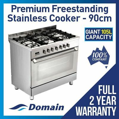 NEW 90cm STAINLESS STEEL FREE STANDING UPRIGHT COOKER / STOVE
