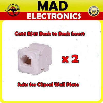 2 x CAT6 RJ45 Back to Back Insert to suit Clipsal Wallplates/Wall Plates