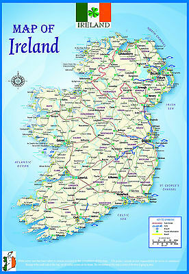 A2 Gloss Laminated Ireland Geographical Political Atlas Map Educational Poster