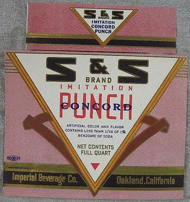 1930's~Soda Label~S & S Concord Punch~Imperial Beverage Oakland, CA