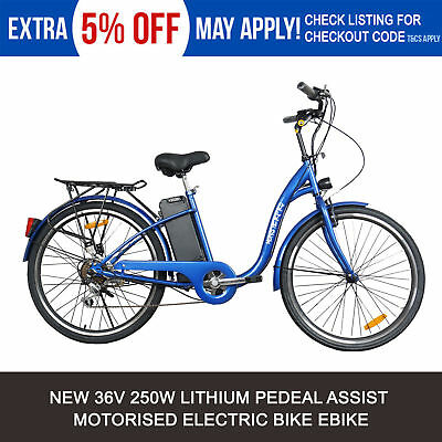 New Blue Pedal Assist Electric Bike 36V 10Ah 250W E-Bike City Bicycle Uber Ebike